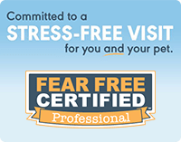 Committed to a Stress-Free Visit for you and your pet. Fear-Free Certified Professional Logo